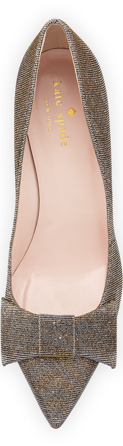 kate spade new york juliette shimmer mid-heel pump, bronze