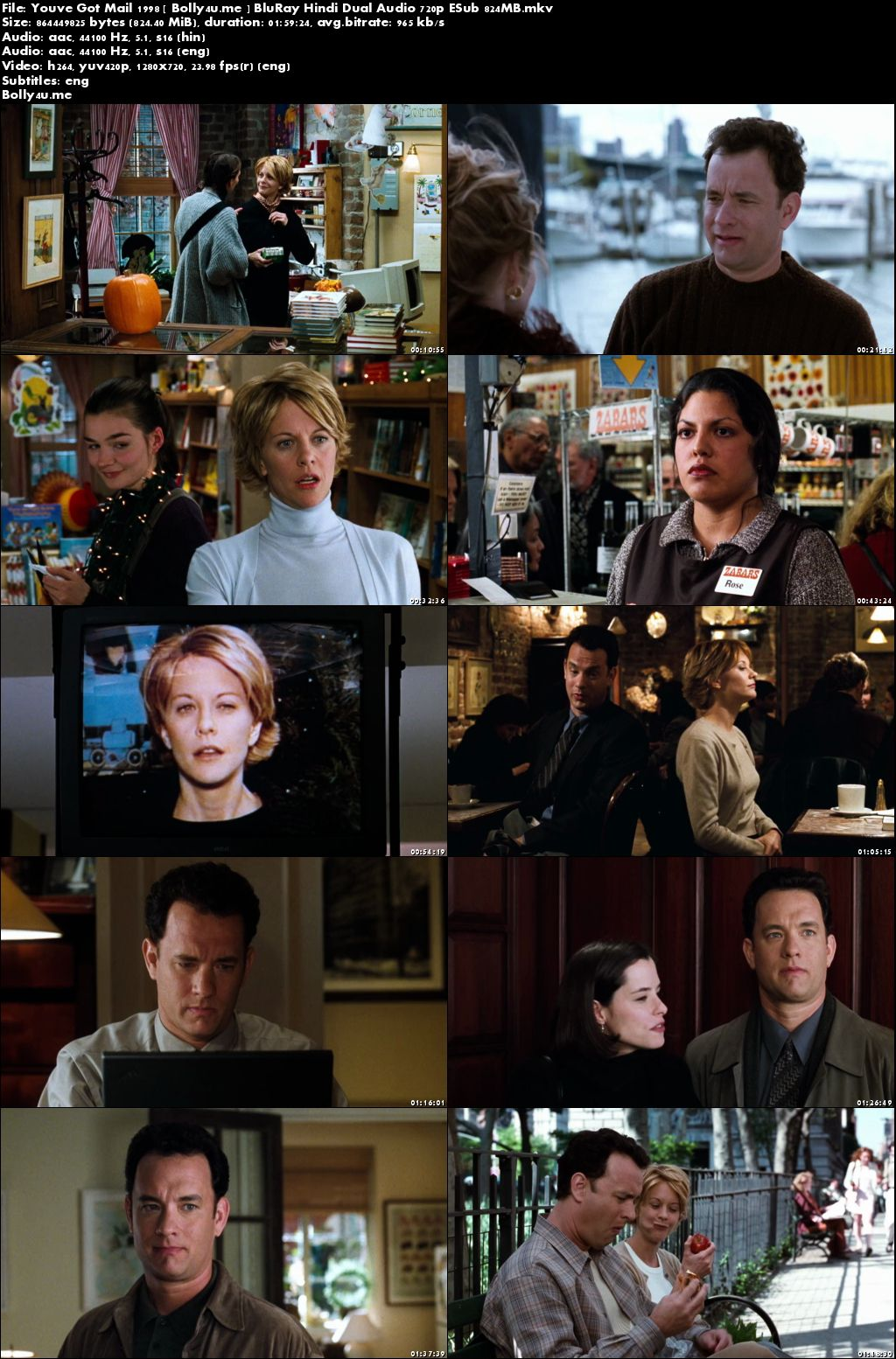 You've Got Mail 1998 BluRay 400MB Hindi Dual Audio 480p ESub Download