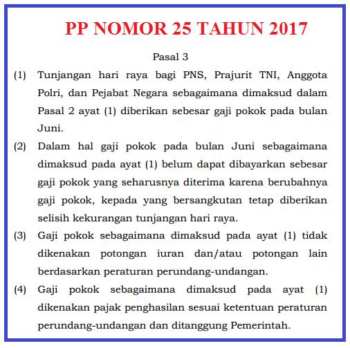Download Peraturan Pemerintah PP Nomor/ No. 25 Tahun 2017 Tentang Pemberian THR Bagi PNS File pdf