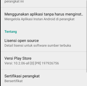 Versi Google play store