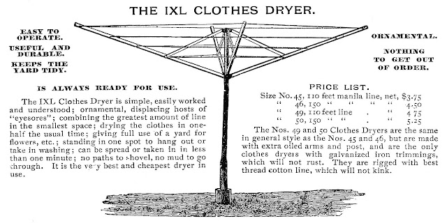An 1895 illustrated advertisement for an umbrella-style clothes dryer