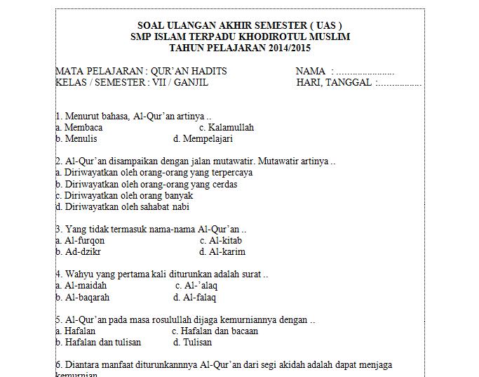 Contoh Soal Quran Hadits Kelas 1 Semester 2