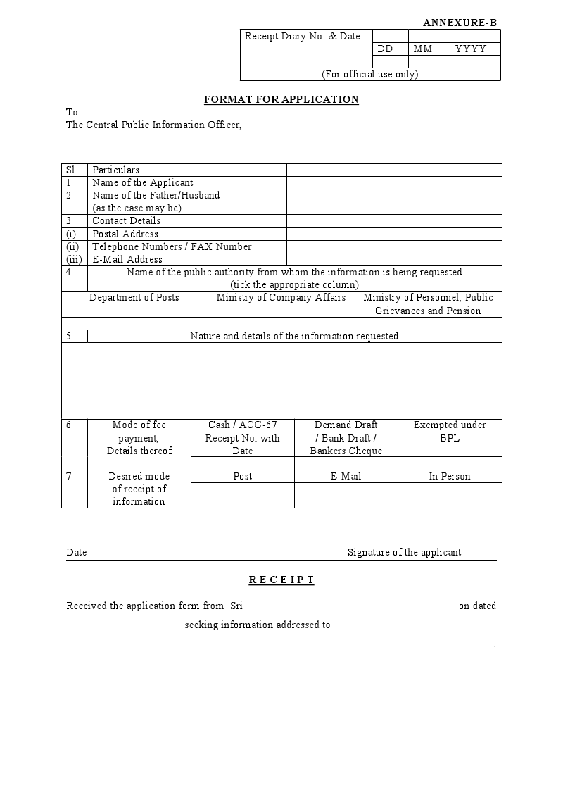 Rti application format