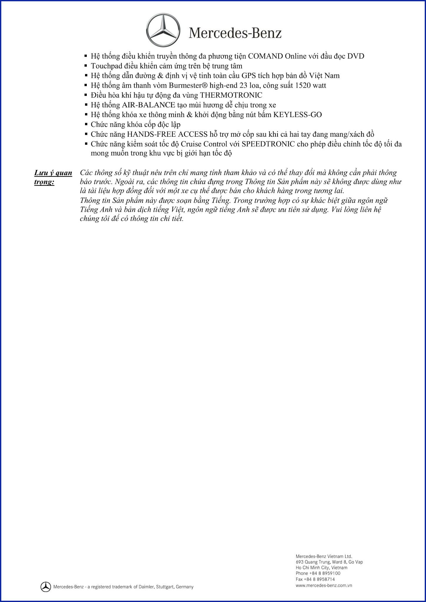 Bảng thông số kỹ thuật Mercedes S500 Cabriolet 2019 tại Mercedes Trường Chinh