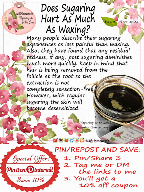 Does Sugaring Hurt As Much As Waxing? Many people describe their sugaring experiences as less painful than waxing. Also, they have found that any residual redness, if any, post sugaring diminishes much more quickly.