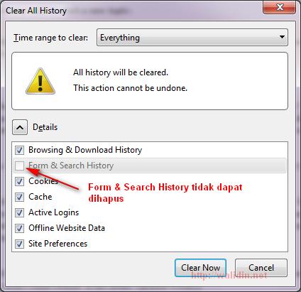 form & search history tidak dapat dihapus