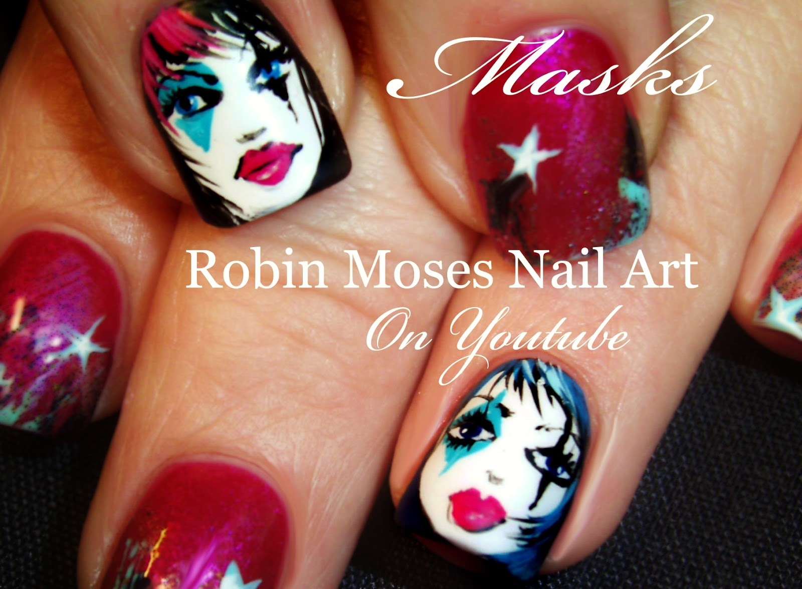 Nail Art by Robin Moses: Mardi Gras type Mask Nail Art. How to paint ...