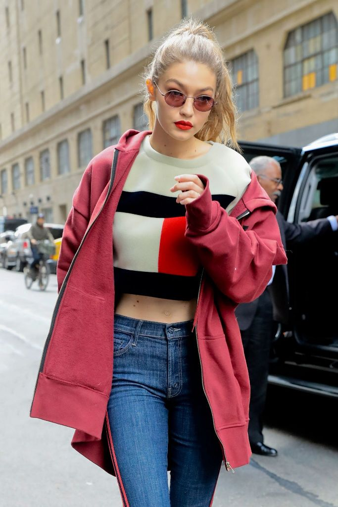 Gigi Hadid high street style in a Tommy Hilfiger Sweater in NYC