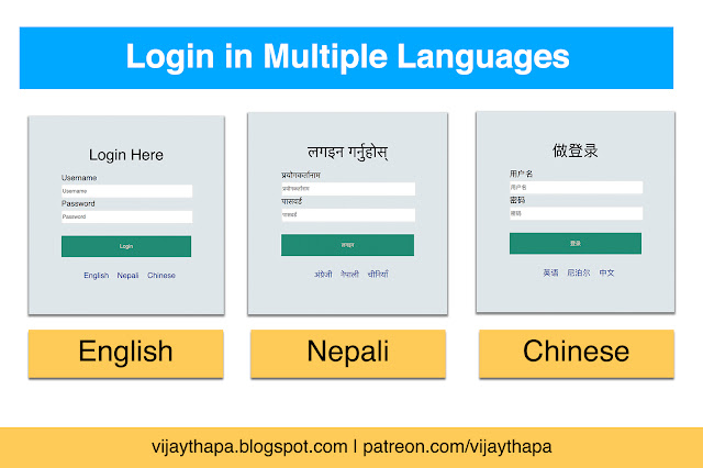 Login Page in Multiple Languages