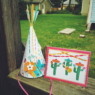 festive birthday party hat and cacti card
