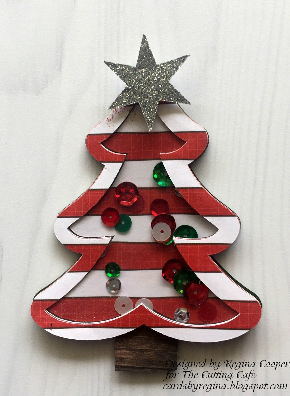 cardsregina: christmas tree shaker card in shadow box