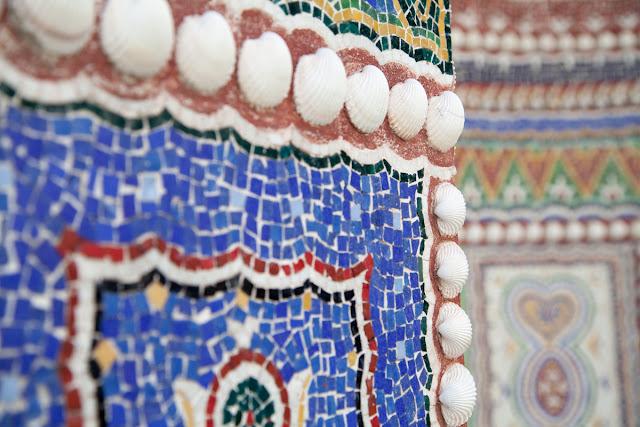 mosaicos, conchas jardin del este Villa Getty