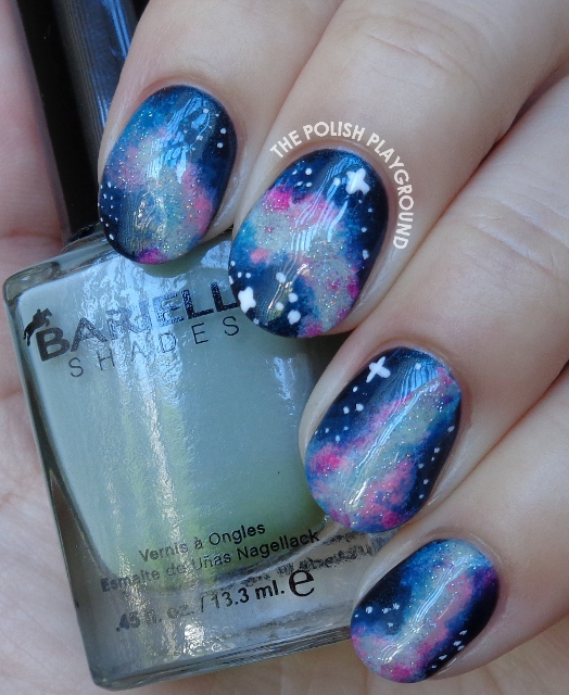Blue and Pink Galaxy Inspired Nail Art