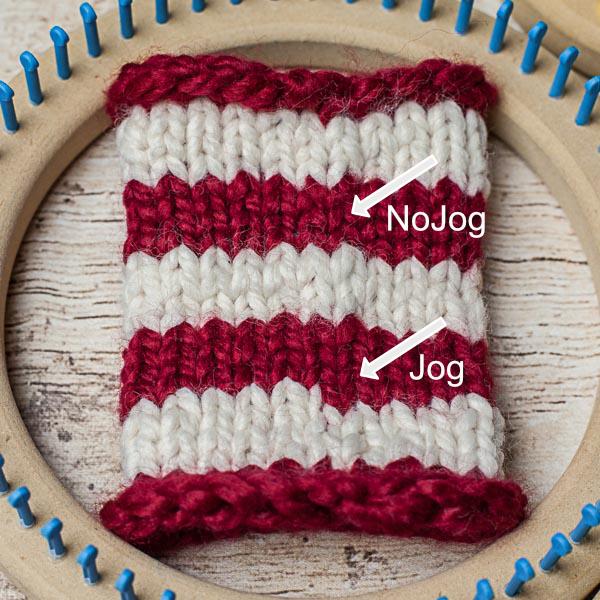 loom knitting tutorials, jogless stripes on the loom, fix the jog, This Moment is Good