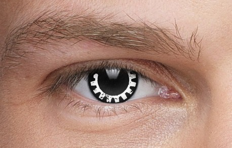 Black and white steampunk contact lenses that look like a gear or cogwheel. steampunk contacts for men and women