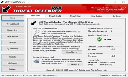 مزايا برنامج فحص الفلاشة من الفيروسات USB Threat Defender