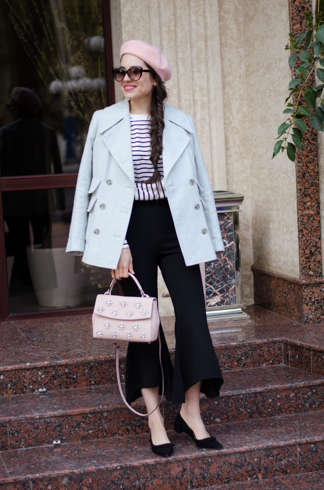 fashion blogger diyorasnotes diyora beta paris style striped top ruffles pink bag michael kors