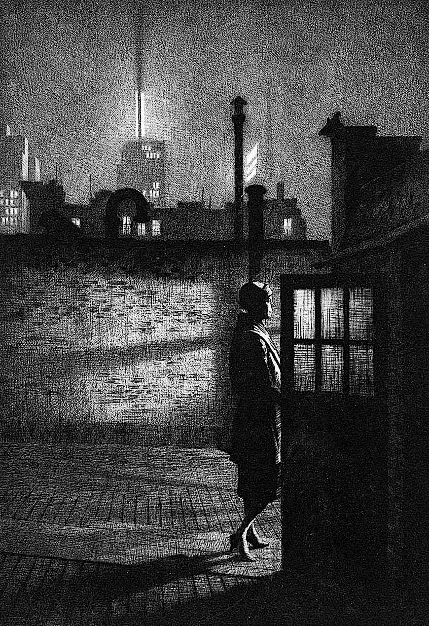 a Martin Lewis print of a woman at night on a roof top