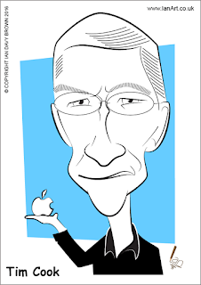 Tim Cook caricature by Ian Davy Brown