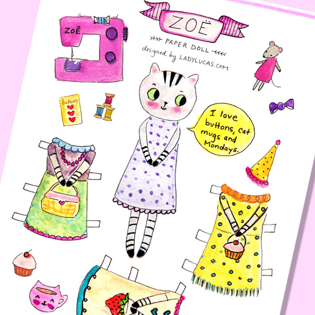 Tabby Cat Paper Doll Printable by Lady Lucas