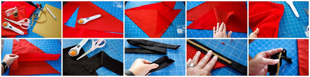 Step-by-step making a red dog bandana decorated with black and gold trim