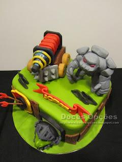 Clash Royale Sparky Golem Dragão Infernal bolos aniversário pasta açucar