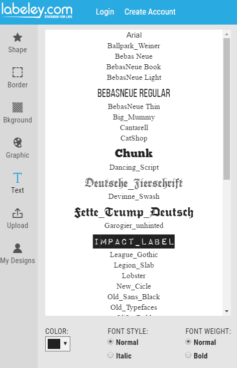 Select Text Font