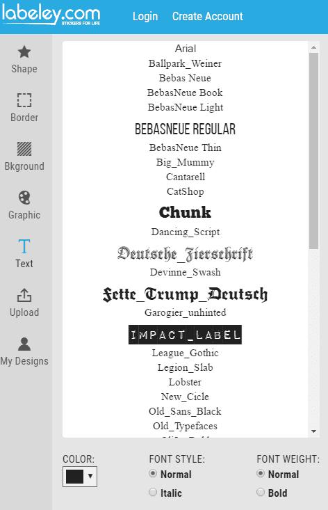 Select Text Font