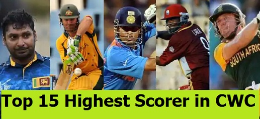Top 15 Highest individual scorers, most runs in Cricket World Cup history till cwc 2019