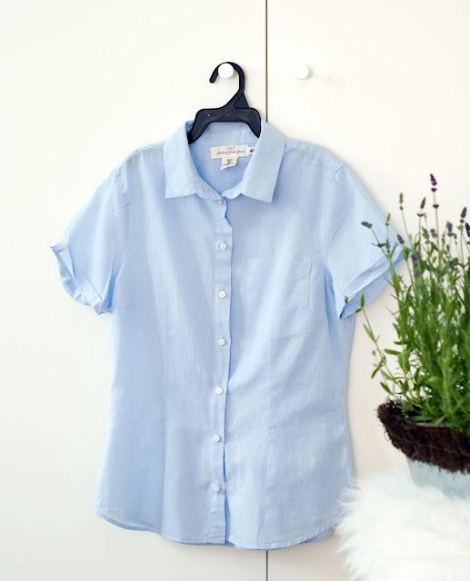 niebieska bawełniana koszulka z H&M