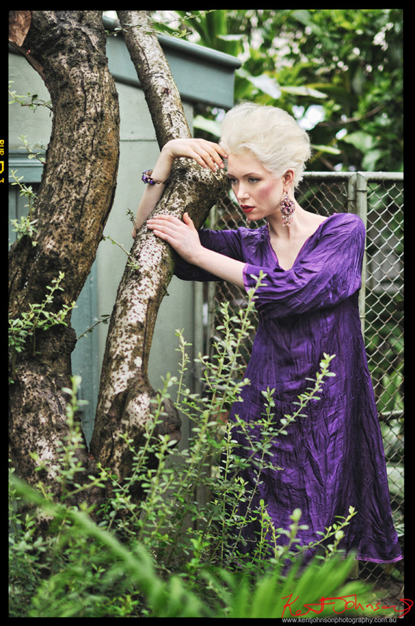 Fashion campaign shot in an old overgrown suburban garden. Photographed by Kent Johnson, Sydney, Australia.