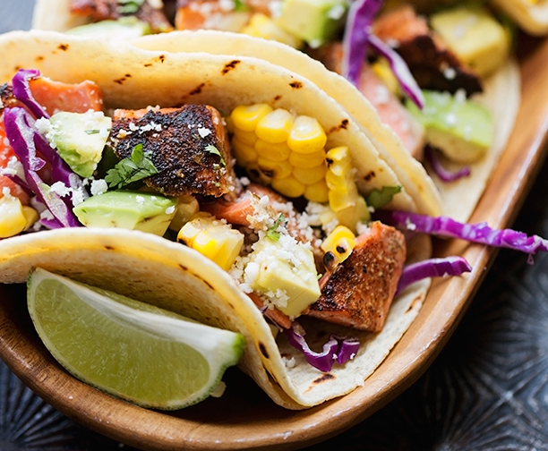 Blackened Salmon Tacos Jalapeno Lime Crema