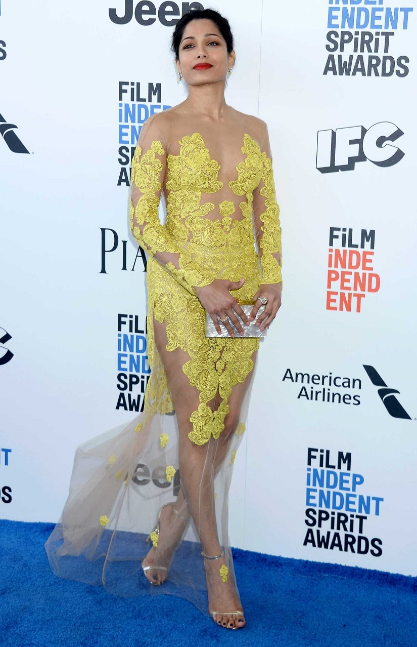 Freida Pinto bares skin in sheer lace dress at the Independent Spirit Awards 2017