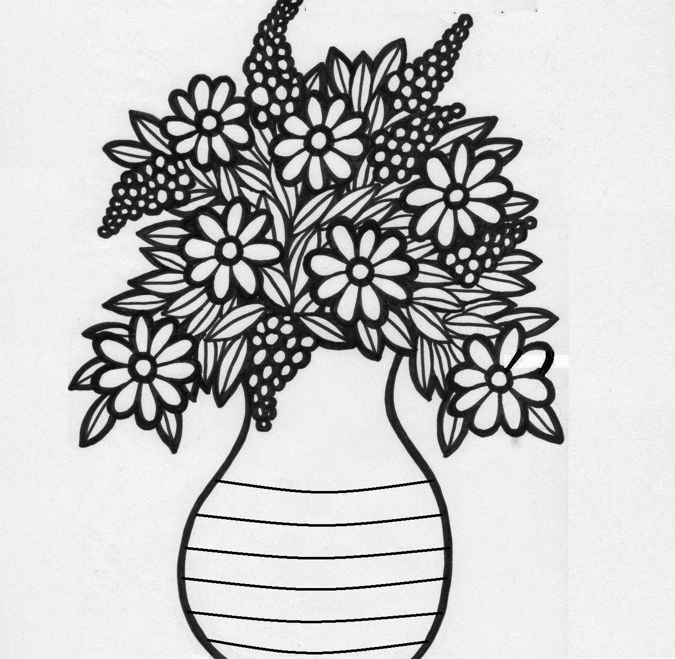 Easy Drawings Of Flowers In A Vase How To Draw A Flower Vase Step