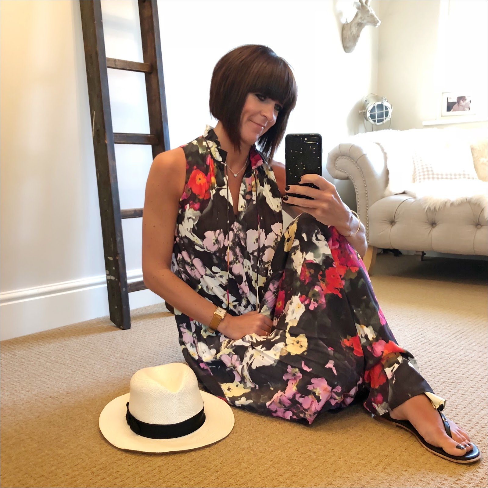my midlife fashion, marks and spencer handwoven panama hat, iro eyelet embellished leather sandals, and other stories floral maxi dress