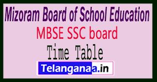 Mizoram HSLC ExamTime Table 2018
