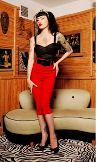 Pinup Girl Deadly Dames Capris Pants Red