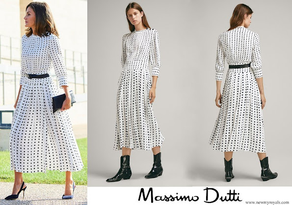 Queen Letizia wore a pleated dress by Massimo Dutti