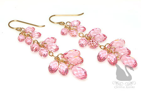 Pink Rose Triple Teardrop Crystal Beaded Earrings (E154)
