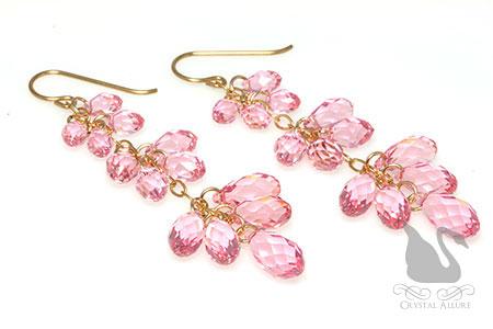 Pink Rose Triple Teardrop Crystal Beaded Earrings (E154)