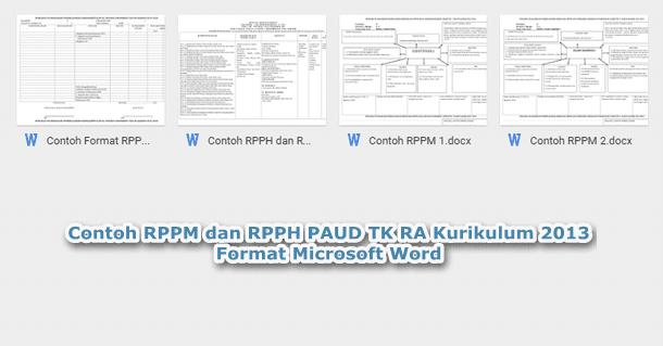 Contoh RPPM dan RPPH PAUD TK RA Kurikulum 2013 Format Microsoft Word