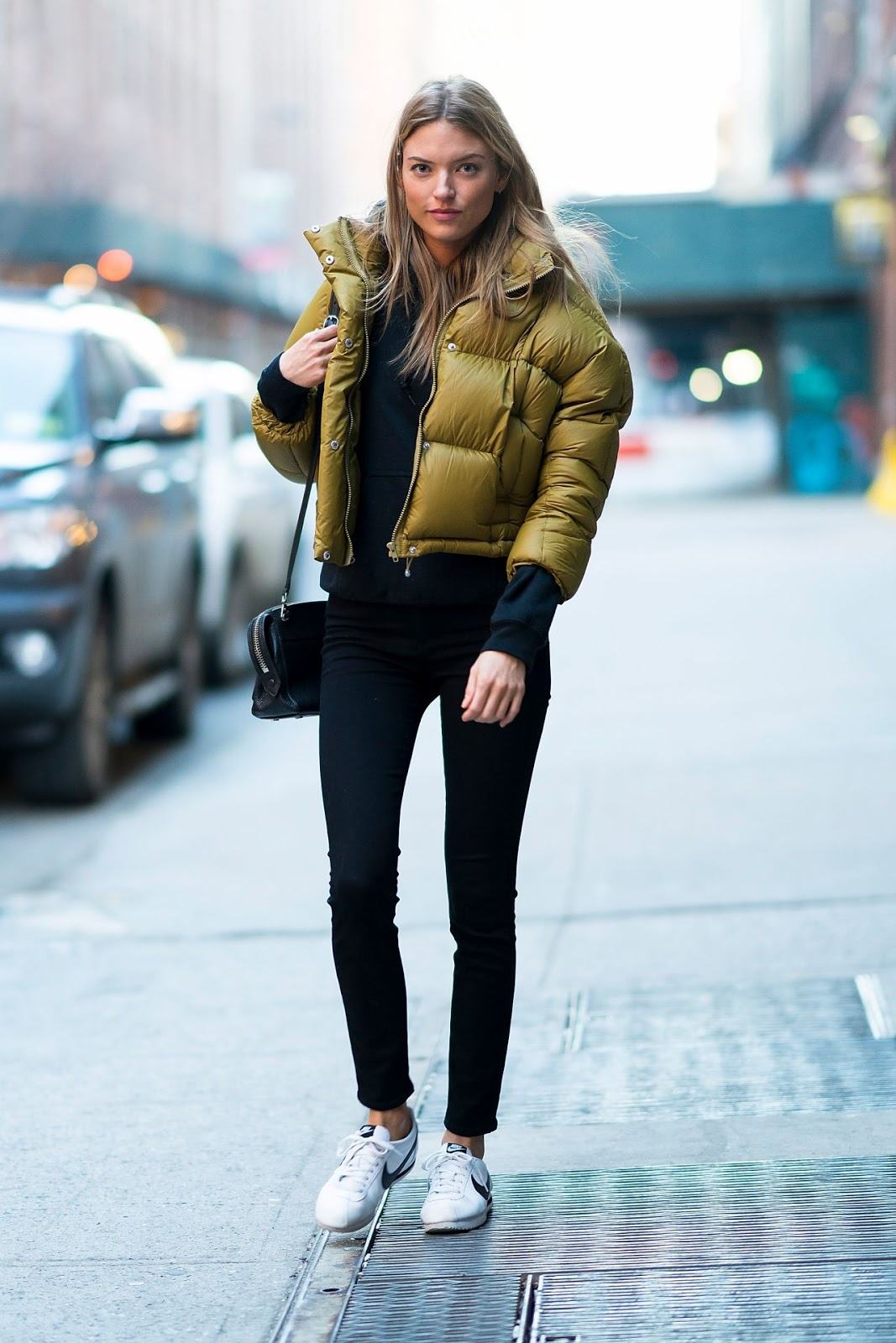 These Are the Coolest Cropped Puffer Jackets for Winter — Martha Hunt Street Style