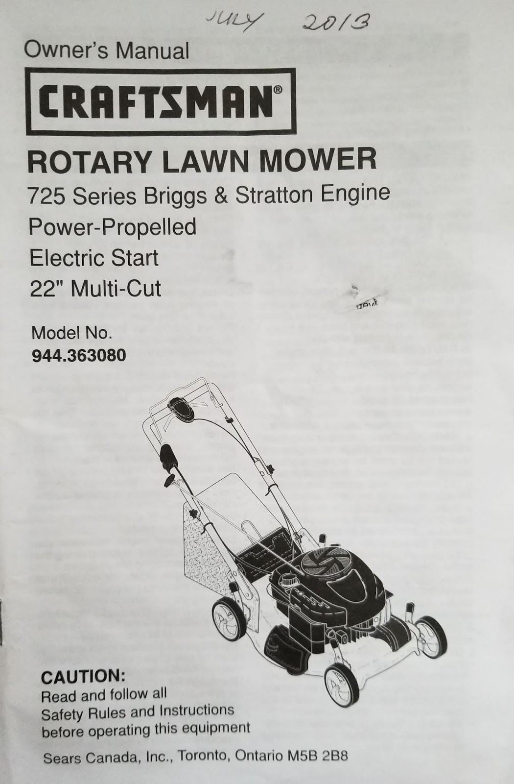 Find Your Manuals Here   : Craftsman Rotary Lawn Mower 22