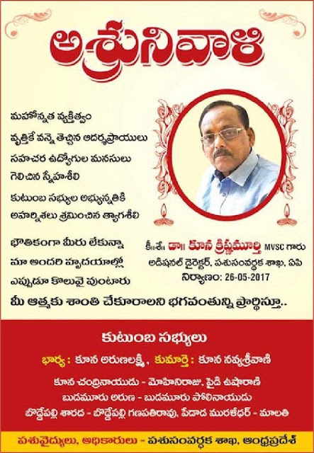 DR KUNA KRISHNA MURTHY DIED ON 25-5-2017
