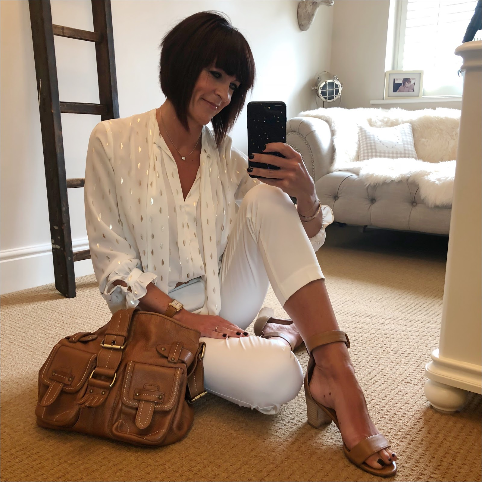 my midlife fashion, marks and spencer tapered leg trousers, zara metallic frill detail pussy bow blouse, massimo dutti tan leather tote, next block heel tan sandals