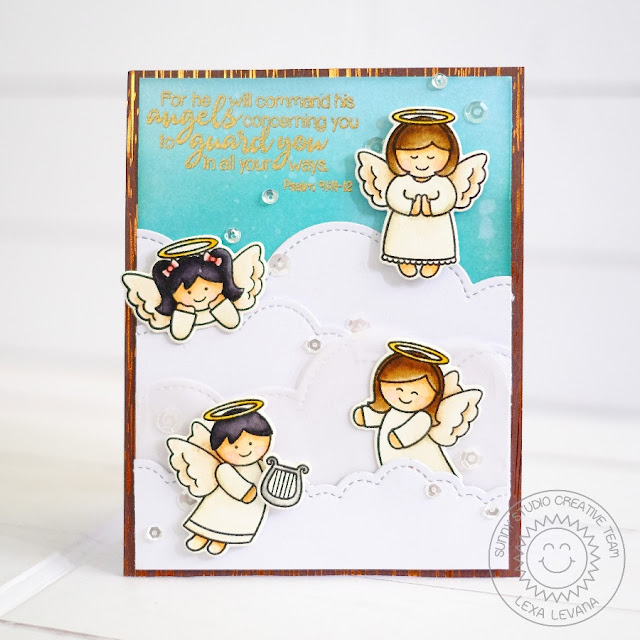 Sunny Studio Stamps: Little Angels & Angelic Sentiments Angel Encouragement Card by Lexa Levana