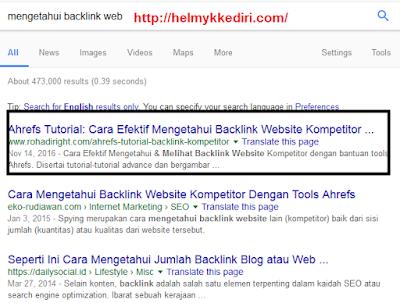 Cara mengetahui backlink website dengan ahref