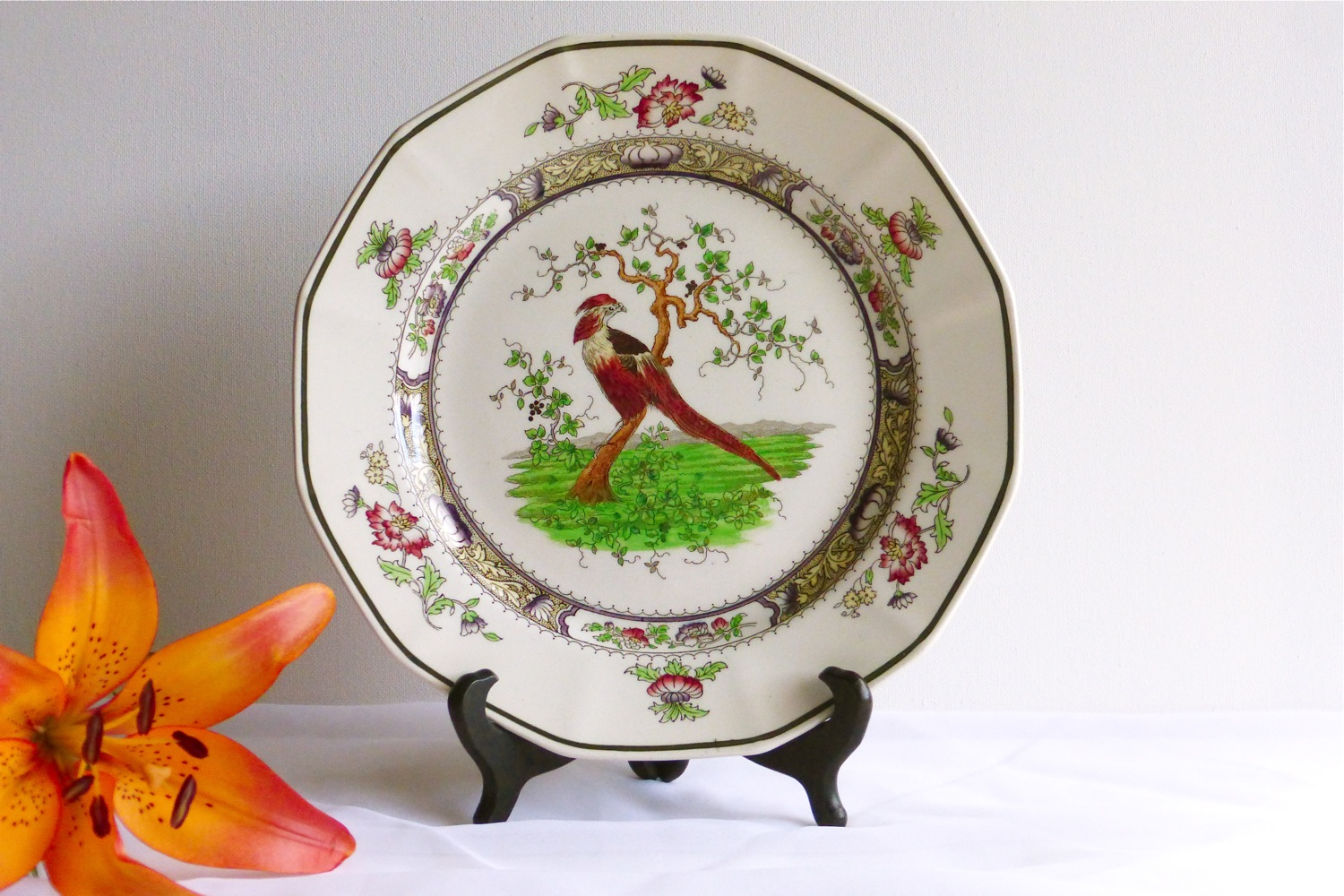 1900 Royal Doulton Pekin plate, 1900 Royal Doulton antique plate, 1900 Royal Doulton Chinoiserie Revival antique dish ware, 1900 Royal Doulton antique bird plate, antique bird plate, vintage bird plate