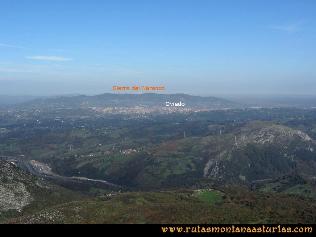 Ruta Baiña, Magarrón, Bustiello, Castiello. Vista del Naranco desde el Pico Magarrón