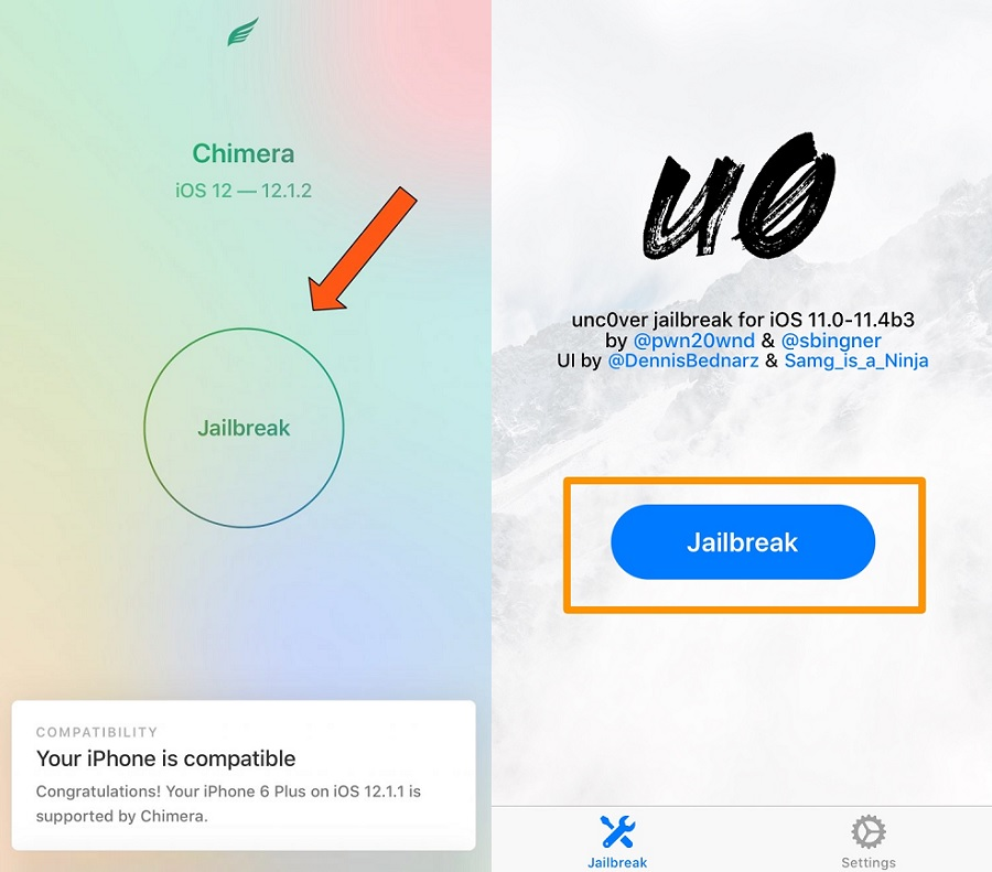 Jailbreak iOS 12 with Chimera and Unc0ver Tools